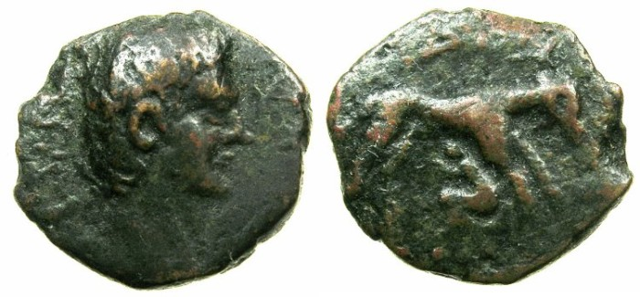 Ancient Coins - CRETE.KYDONIA.Nero AD 54-68.AE.18mm.~#~.Miletus suckled by bitch.