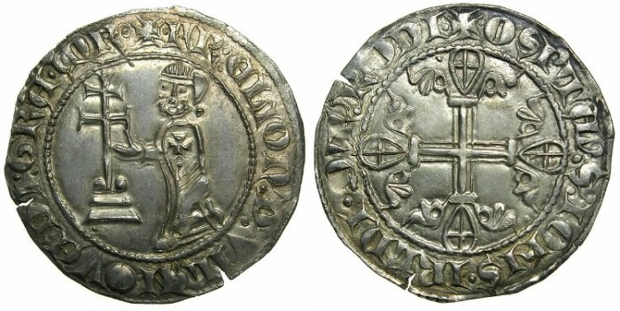 Ancient Coins - CRUSADER.RHODES.Helion de Villeneuve AD 1319-1346.AR.Gigliato.1st Type.