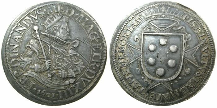 World Coins - ITALY.PISA.Ferdinando I de Medici AD 1587-1608.AR.Tallero.1601.