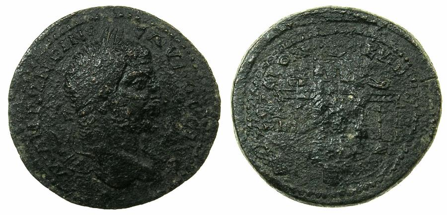 Ancient Coins - CYPRUS.KOINON OF CYPRUS.Caracalla AD 198-217.AE.31.8mm.Mint of PAPHOS.~#~.Temple of Aphrodite at Paphos.