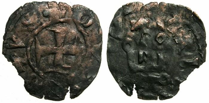 Ancient Coins - CRUSADER STATES.GREECE.EPIRUS.John II Orsini AD 1323-1335. Bi.Denier.Struck at the castle of ARTA.