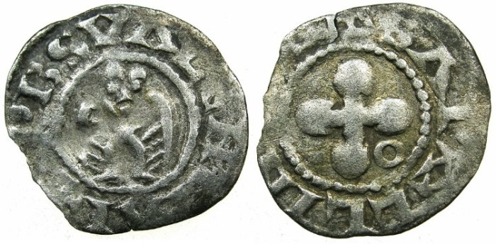 "Ancient Coins - CRUSADER.""ERAT HAEC NOSTRA moneta"" preferred coinage.Bishops of Valence.Billon Denier."