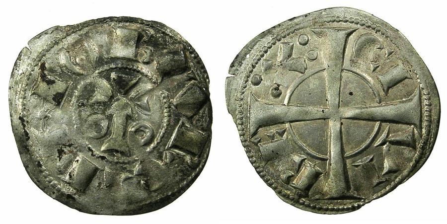 World Coins - SPAIN.County of BARCELONA.Alfonso I ( II of Aragon ) AD 1162-1196.Billon Dinero.