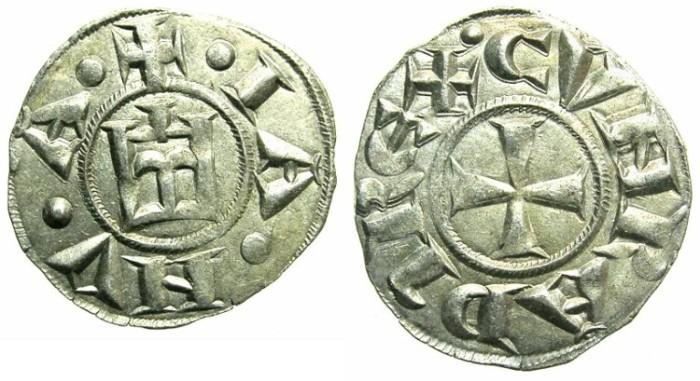 Ancient Coins - ITALY.GENOA.Republic 1139-1339.AR.Denier