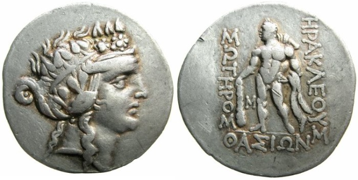 Ancient Coins - THRACE.Island of THASOS.AR.Tetradrachm, struck after 148 BC.~~~Effeminate young Dionysos.~#~Naked Herakles holding club.