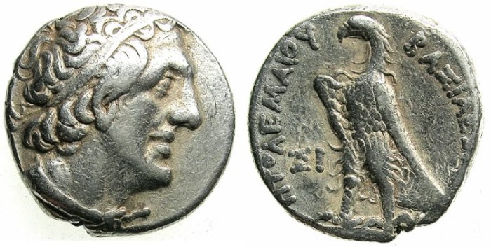 Ancient Coins - PTOLEMAIC EMPIRE.PHOENICIA.Ptolemy II Philadelphus 285-246 BC.AR.Tetradrachm.Struck 266/5 BC. Mint of SIDON.