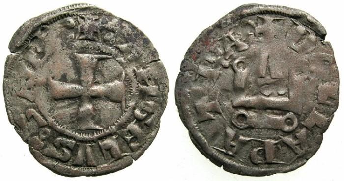 Ancient Coins - CRUSADER STATES.GREECE.Duchy of NEOPATRAS.John II Angelus-Comnenus AD 1303-1318.Bi.Denier.~~~Small letter P end reverse legend.