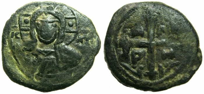 World Coins - CRUSADER STATES.Principality of ANTIOCH.Tancred AD 1104-1112.AE.Follis.4th type~~~Facing bust of Christ.