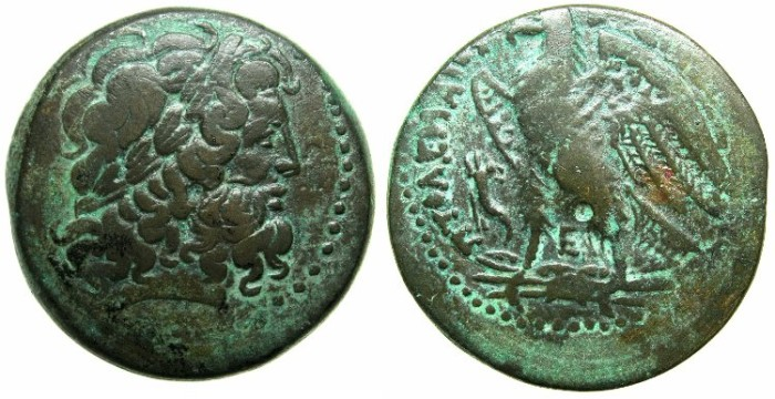 Ancient Coins - EGYPT.Ptolemy IV Philopator 221-205 BC.Mint of ALEXANDRIA.AE.24.Laurate Zeus.Eagle.