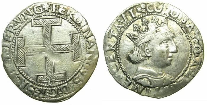 Ancient Coins - ITALY.NAPLES.Ferdinand I AD 1458-1494.AR.Coronato.Letter C on cross.