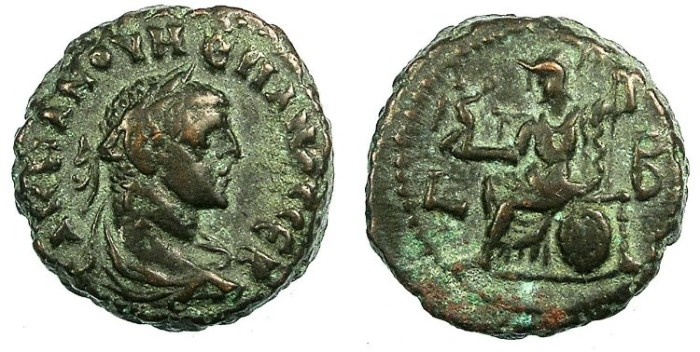 Ancient Coins - EGYPT ALEXANDRIA.Numerian as Augustus AD 283-284.Bi.Tetradrachma.Athena seated left.