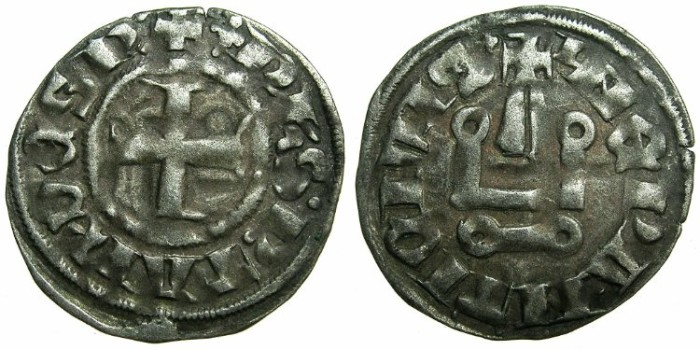 Ancient Coins - CRUSADE STATES.GREECE.Depotate of EPIRUS.Philip of Tarento AD 1294-1313.Billon Denier.Type 1b.
