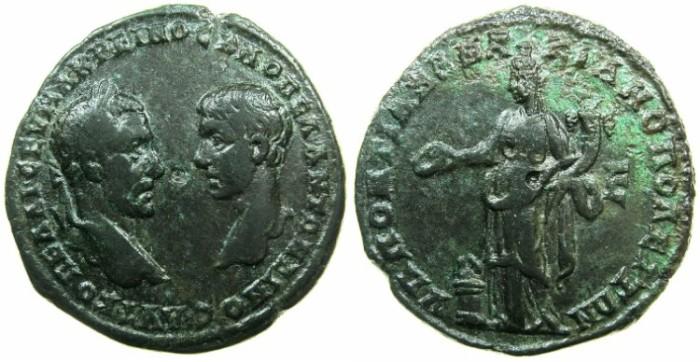 Ancient Coins - MOESIA INFERIOR.MARCIANOPOLIS.Macrinus and Diadumenian Caesar AD 217-218.AE.5 Assaria.~#~.Homonia standing left.
