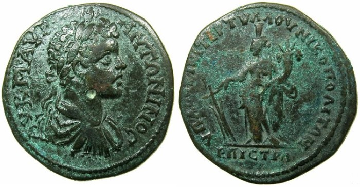 Ancient Coins - MOESIA INFERIOR.NIKOPOLIS AD ISTRUM.Caracalla Augustus AD 212-217.AE.27mm.Tyche standing.