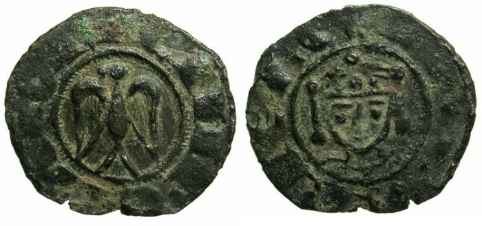 World Coins - ITALY.SICILY.Henry VI AD 1194-1197 with Frederick AD 1196-1197.Billon Denaro.Mint of MESSINA or PALERMO.