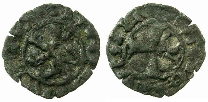 World Coins - CRUSADER STATES.CYPRUS.James I AD 1382-1398 .Billon Denier.