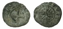 World Coins - CRUSADE STATES.County of TRIPOLI.Bohemond V or VI AD 1233-52-75.Billon denier, Type 3.