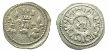 World Coins - HUNGARY.Bela IV AD 1235-1270.AR.Dinar.Struck at a mint in Croatia.~#~. Hebrew letter TZADI