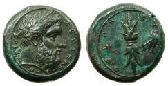 Ancient Coins - SICILY.SYRACUSE.Timoleon and the third Democracy 344-317 BC.AE.Hemilitron.1st series struck circa 344-339/8 BC.**Artistic bust of Zeus Eleftherios **