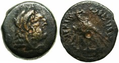 Ancient Coins - EGYPT.Ptolemy VI Philometer 180-145 BC.Mint of ALEXANDRIA.AE.24.Bearded Herakles.Eagle with caduceus.