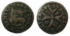 World Coins - MALTA.Raymond Perellos y Rocaful Grand Master AD 1697-1720.AE.Grano 1709.