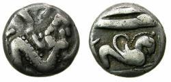 Ancient Coins - PHOENICIA.ARADOS.Uncertain King circa 440-420 BC.AR.Third shekel ( Tetrobol ). Baal-Arwad. Reverse. Hippocamp.