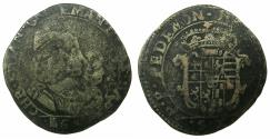 World Coins - ITALY.SAVOY.Carlo Emanuelle II 1639-1675 Regency issue with his mother Maria Cristina 1639-1648.Billon.Mezza Lira.Type V. 1642.