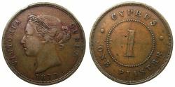 World Coins - CYPRUS.Bristish Administration.Victoria 1837-1901.AE.1 Piastra 1879