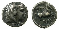 Ancient Coins - ILLYRIA.DYRRHACHION.Circa 300-320 BC.AR.Hemidrachm?. ~~~Herakles. ~#~.Pegasus.