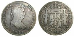 World Coins - MEXICO, under SPAIN.Ferdinad VII 1808-1833.AR.8 Reales 1818.Mo JJ