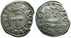 World Coins - CRUSADER.Principality of ACHAIA.Florent of Hainault AD 1289-1297.Bi.Denier.Type F4. ~~~RARE~~~