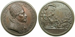 World Coins - ITALY.PAPALCY.Pope Innocent XII AD 1691-1700.AE.Medal, Anno II ( 1692 ).19th cent restrike.~#~ Relief to the prisioners and oppressed.