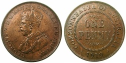 World Coins - AUSTRALIA.George V.AE.Penny 1919, dot below bottom scroll.