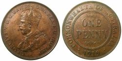 World Coins - AUSTRALIA.George V.AE.Penny 1919, dot below bottom scroll.