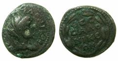 Ancient Coins - MACEDON.THESSALONIKA.Pseudo-autonomous issue 2nd Cent A.D.AE.20.4mm. Bust of Tyche.
