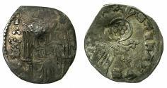 World Coins - SERBIA.Stefan VIII Uros IV Dusan as King AD 1331-1345.AR.Dinar. Crowned head in field, Rare. Bulgarian countermark Bird