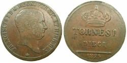 World Coins - ITALY.Kingdom of The Two Sicilies ( Due Sicilie ).Francesco I AD 1825-1830.AE.10 Tornesi 1825.