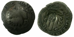 World Coins - FRANCE.PERPIGNAN.Philip II of Spain AD 1556-1598.Billon 2 Sols 1598. ~Countermark Head of Baptist.