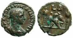 Ancient Coins - EGYPT.ALEXANDRIA.Aurelian AD 270-275.Billon Tetradrachm, struck AD 272/273.~#~.Eagle between two vexilla
