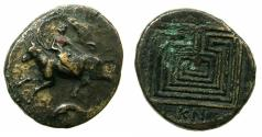 Ancient Coins - CRETE.KNOSSOS.Circa 350-200 BC.AE.20.5mm. Reverse. Labyrinth at Knossos; bult to hold the Minotaur.Unpublished var?
