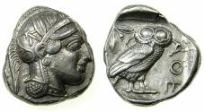 Ancient Coins - ATTICA. ATHENS AR Tetradrachm.struck after 449 BC.