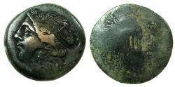 Ancient Coins - BITHYNIA, kingdom.Prusias I or II C 238-149 BC.AE.27.5mm. Countermarkedï with Head of Artemis, tripod and lyre.