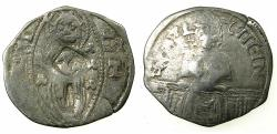 World Coins - SERBIA.Stefan VIII Uros IV Dusan as Emperor AD 1345-1355.AR.Dinar. Cyrillic legends.Bulgarian countermark Bird