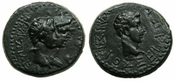 Ancient Coins - THRACE, kingdom. Rhoemetalces circa 11BC-AD 12.AE.23mm.~#~.Rhoemetalces and Queen Pythodoris.~/~.Augustus.