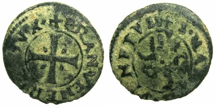 Ancient Coins - CRUSADER STATES.CYPRUS under VENICE.Francesco Venier AD 1554-1556.Billon.Carzia per Cipro.