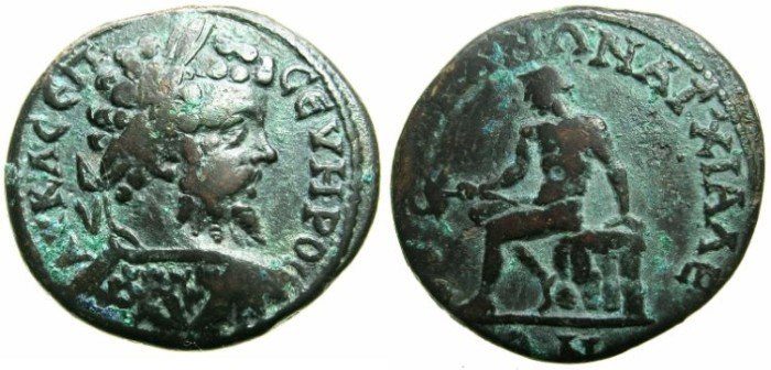 Ancient Coins - THRACE.ANCHIALUS. Septimius Severus AD 193-211 AE.27.7mm.~#~.Hermes seated  on rocks