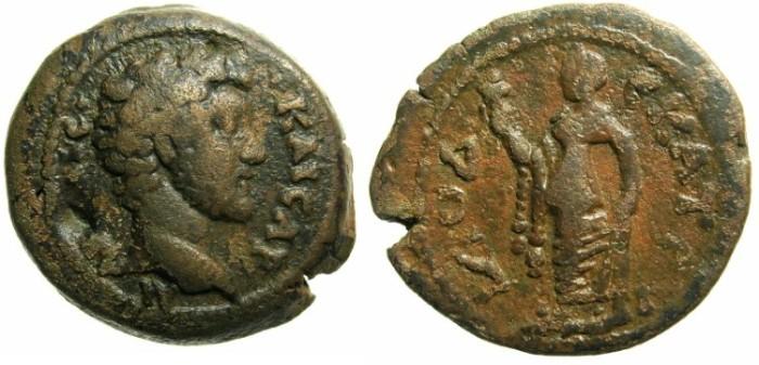 Ancient Coins - EGYPT.ALEXANDRIA.Marcus Aurelius as Caesar AD 138-161 under Antoninus Pius.AE.Diobol.AD 148/49.~#~Elpis.*****VERY RARE*****