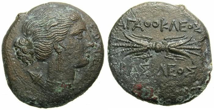 Ancient Coins - SICILY.Agathokles 317-289 BC.AE.23.~~~.Artemis Rev.~Thunderbolt.