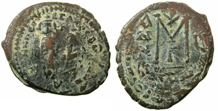 Ancient Coins - BYZANTINE EMPIRE.Heraclius AD 610-641.AE.Follis, struck AD 615/616.Mint of CONSTANTINOPLE.