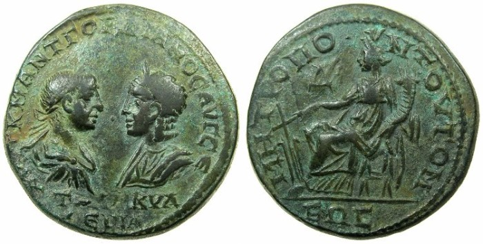 Ancient Coins - MOESIA INFERIOR.TOMIS.Gordian III and Tranquillina AD 241-244.AE.4 Assaria.~#~.Tyche seated.